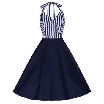 LINDY BOP ' MYRTLE' NAVY BLUE STRIPE VINTAGE 1950's HALTER NECK SWING DRESS