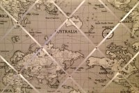 Large 60x40cm Fryetts Atlas World Map Vintage Nautical Grey Hand Crafted Fabric Memory / Notice / Pin / Memo Board