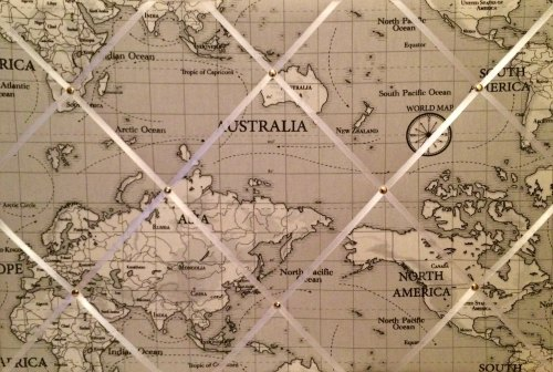 Large 60x40cm Fryetts Atlas World Map Vintage Nautical Grey Hand Crafted Fa