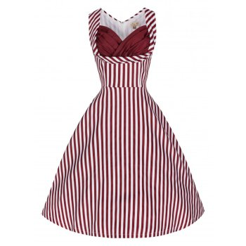 LINDY BOP 'Ophelia' Fun Flirty 50s Inspired Burgundy Candy Stripe Swing Party Dress