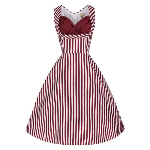 LINDY BOP 'Ophelia' Fun Flirty 50s Inspired Burgundy Candy Stripe Swing Par