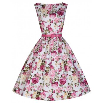 LINDY BOP 'Audrey' Iconic Vintage Style 50s Pink Rose Print Swing Dress