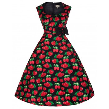 LINDY BOP 'Leda' Fab Fruity Red Berry 50s Vintage Rockabilly Tea Swing Dress