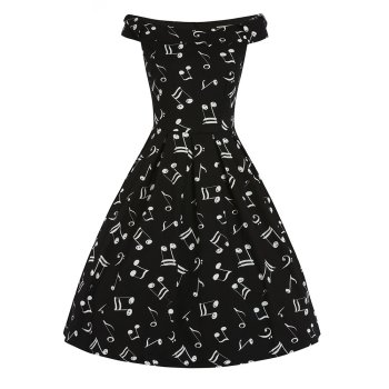 LINDY BOP 'Christie' Music Print Off Shoulder Swing Dress Bow Detail Pleated Skirt