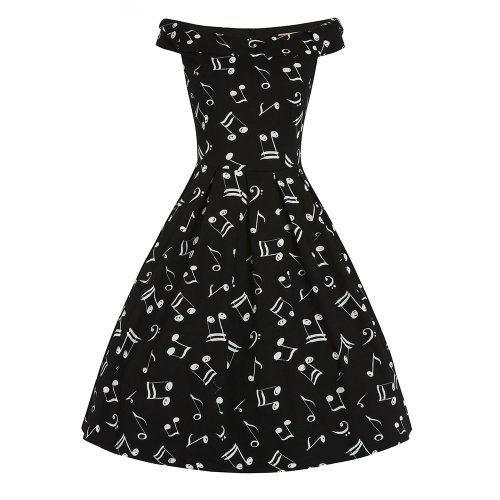 LINDY BOP 'Christie' Music Print Off Shoulder Swing Dress Bow Detail Pleate
