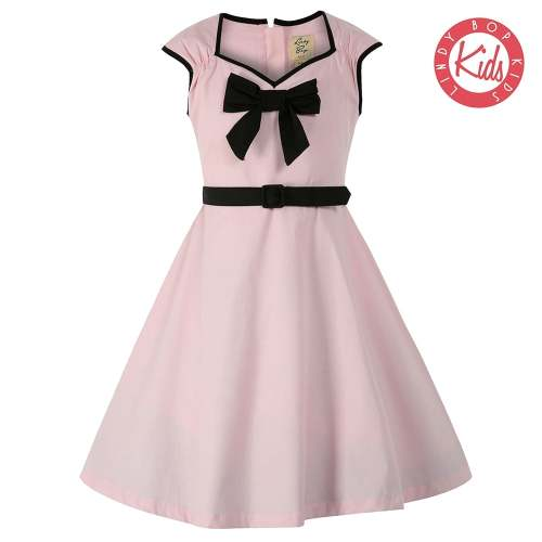 LINDY BOP Mini Alanis Children's Pink Party Dress Dress Bow Detail