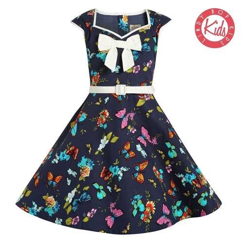 LINDY BOP Mini Alanis Children's Butterfly Print Party Dress Dress Bow Deta