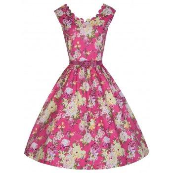 LINDY BOP 'DARIA' ELEGANT VINTAGE INSPIRED 50'S PINK FLORAL BOUQUET PRINT SWING DRESS