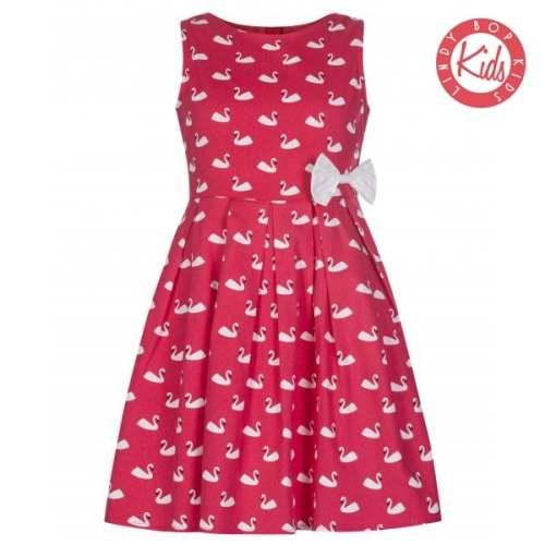 LINDY BOP 'Mini Grace' Children's Pink Swan Bird White Bow Print Dress