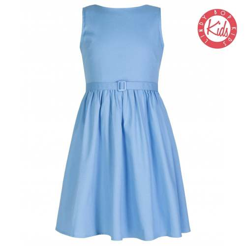 LINDY BOP Mini Audrey Children's Pastel Blue Swing Dress Bateau Neckline