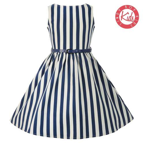 LINDY BOP Mini Audrey Children's Blue White Stripe / Striped Dress Bateau N