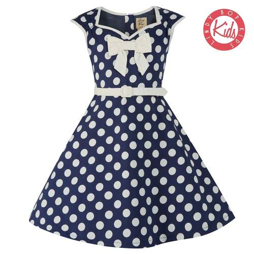 LINDY BOP Mini Alanis Children's Navy Blue Polka Dot Party Dress Dress Bow