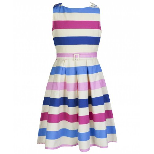 Lindy Bop Childrens Mini Colette Ice Cream Stripe Vintage Swing Party Dress