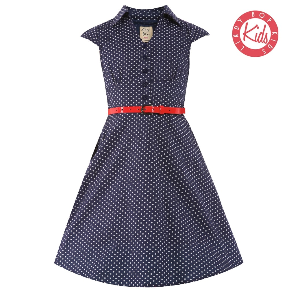 Lindy Bop Childrens 'Mini Rebecca' Navy White Polka Dot Party Swing Shirt D