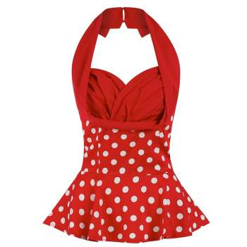 LINDY BOP 'Wilma' Red White Polka Dot Vintage Style Swing Halterneck Top
