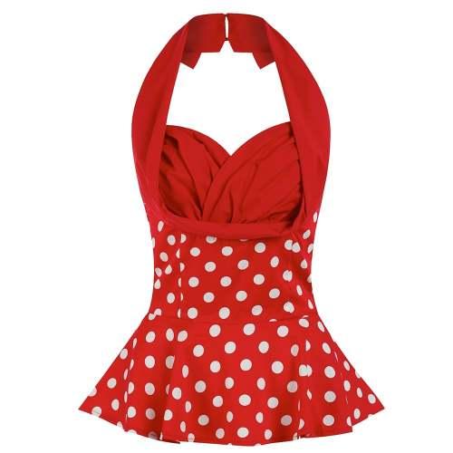 LINDY BOP 'Wilma' Red White Polka Dot Vintage Style Swing Halterneck Top