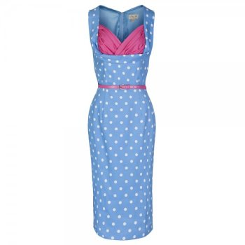 LINDY BOP 'Vanessa' Perfect Pastel Wiggle Vintage Dress In Blue & Pink