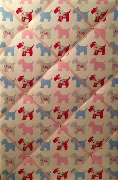 Extra Large 90x60cm Clarke & Clarke Scottie Dog Vertical Pink Blue Grey Fabric Pin / Memo / Notice / Memory Board