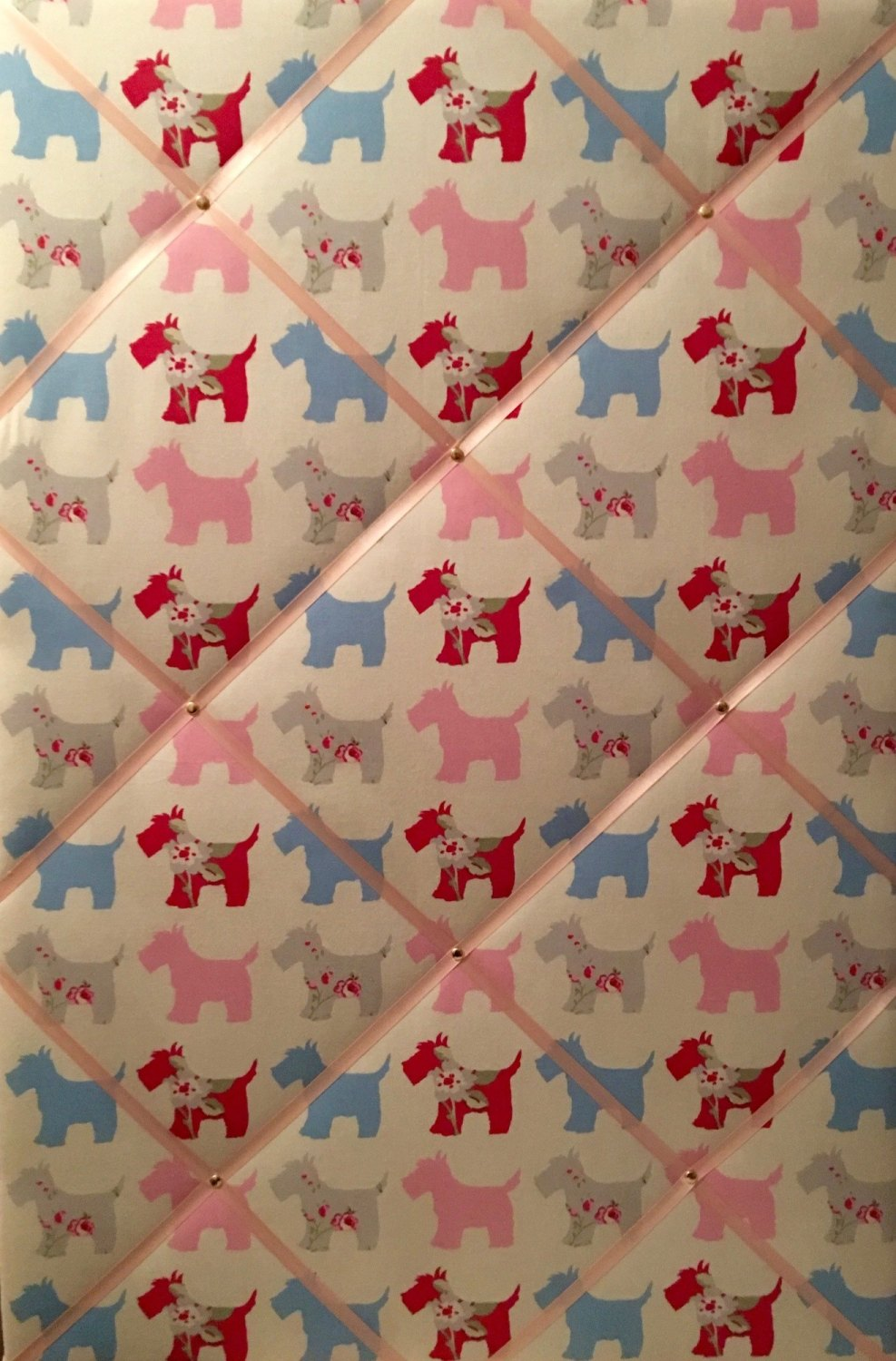 Extra Large 90x60cm Clarke & Clarke Scottie Dog Pink Blue Grey Fabric Pin /