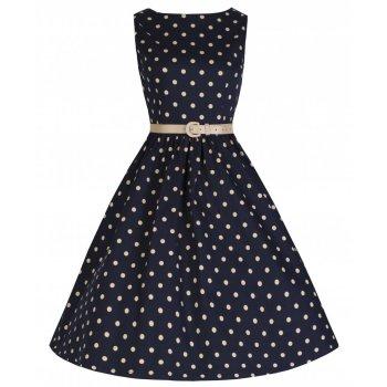 LINDY BOP 'AUDREY' NAVY BLUE POLKA DOT VINTAGE 1950's SWING PARTY DRESS