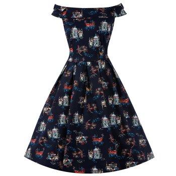 LINDY BOP 'Christie' Venice Print Off Shoulder Navy Swing Dress Bow Detail Pleated Skirt