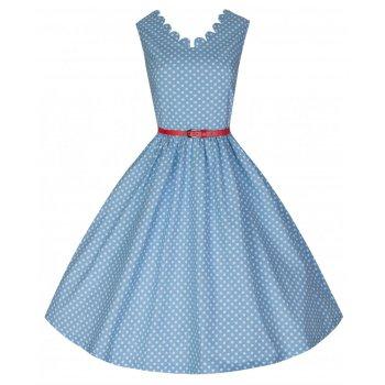 LINDY BOP 'DARIA' PRETTY IN POLKA PASTEL BLUE VINTAGE 50's INSPIRED SWING JIVE DRESS RED BELT