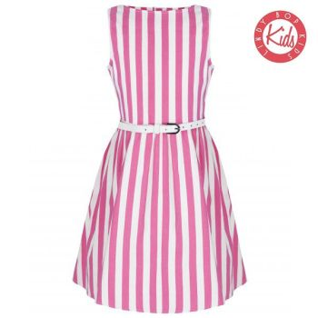 LINDY BOP Mini Audrey Children's Pink Candy White Stripe Party Dress