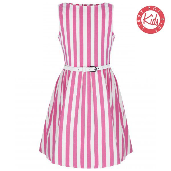 LINDY BOP Mini Audrey Children's Pink Candy White Striped Party Dress