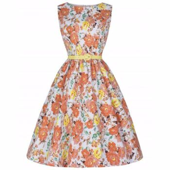 LINDY BOP 'Audrey' Iconic Vintage Style 50s Orange Floral Print Swing Dress