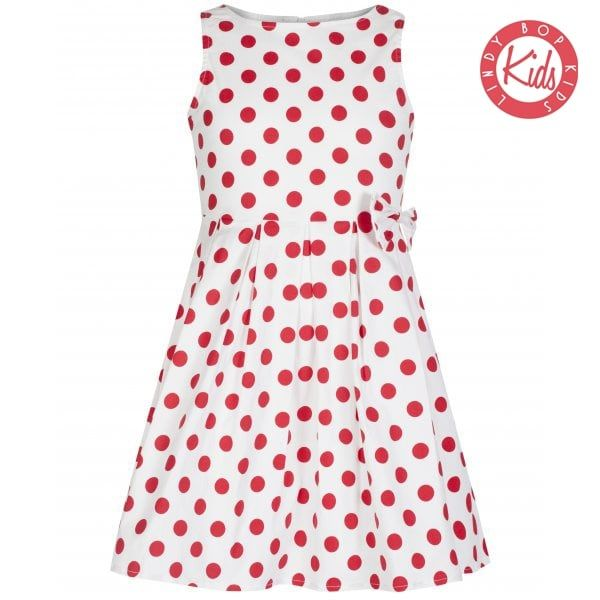 LINDY BOP 'Mini Grace' Children's Red & White Polka Dot Print Bow Dress