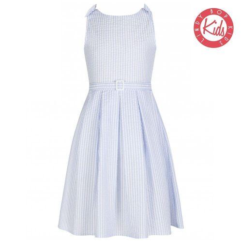 LINDY BOP Children's 'Mini Colette' Blue Stripe Vintage Style Party Dress