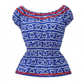 LINDY BOP 'Caterina' Blue Rope Print Gypsy Vintage Style Top
