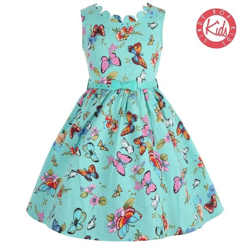 Lindy Bop Childrens Mini Daria Turquoise Butterfly Print Swing Party Dress
