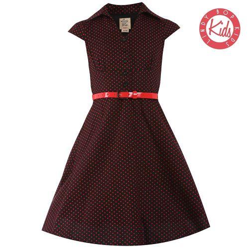 Lindy Bop Childrens 'Mini Rebecca' Black Red Polka Dot Party Swing Shirt Dr