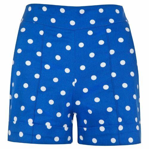 LINDY BOP 'Nishka' Blue White Polka Dot High Waisted Shorts