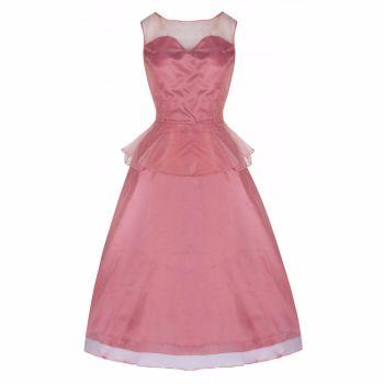 Lindy Bop 'Madison' Coral Pink Peplum Prom Bridesmaid Dress
