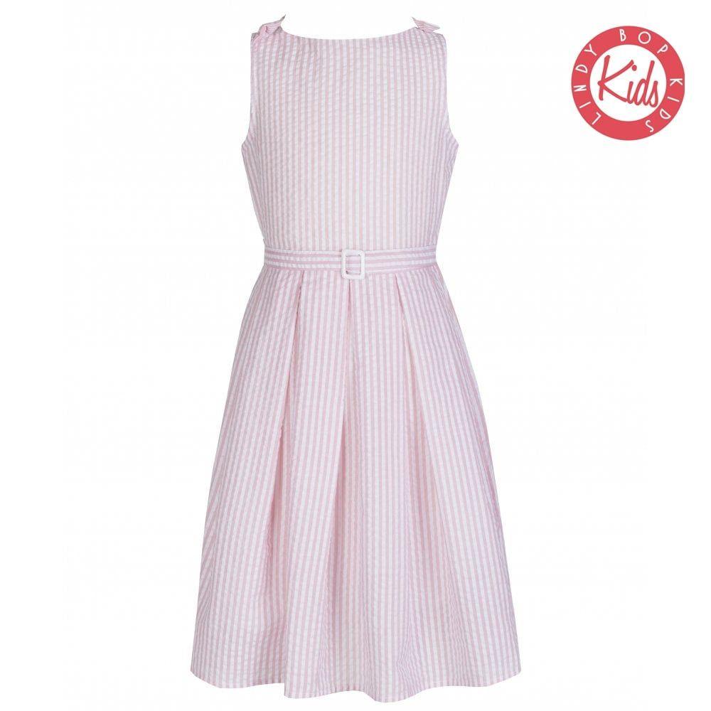 LINDY BOP Children's 'Mini Colette' Pink Stripe Vintage Style Party Dress
