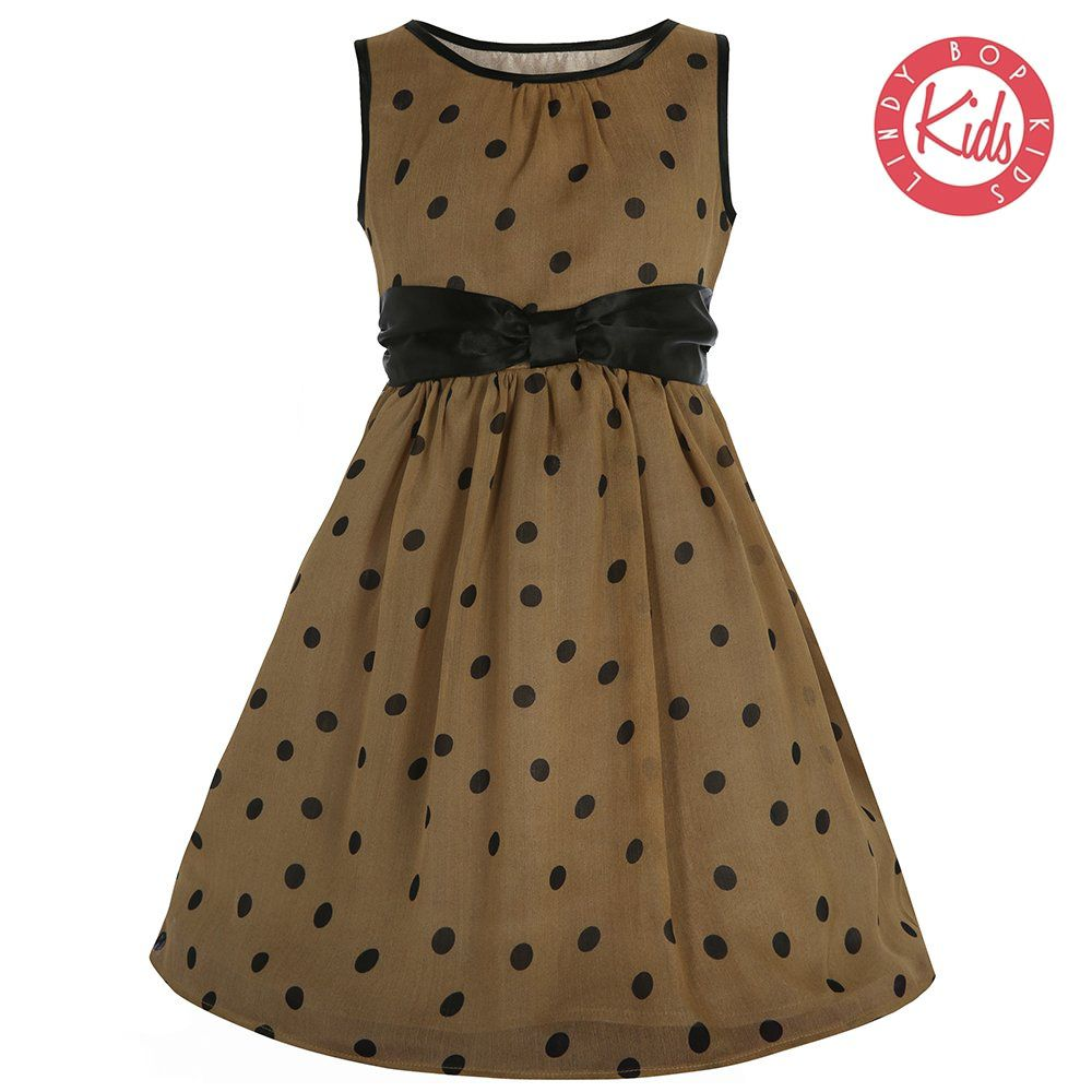LINDY BOP Children's 'Mini Candy' Mocha & Black Polka Dot Dress with Bow