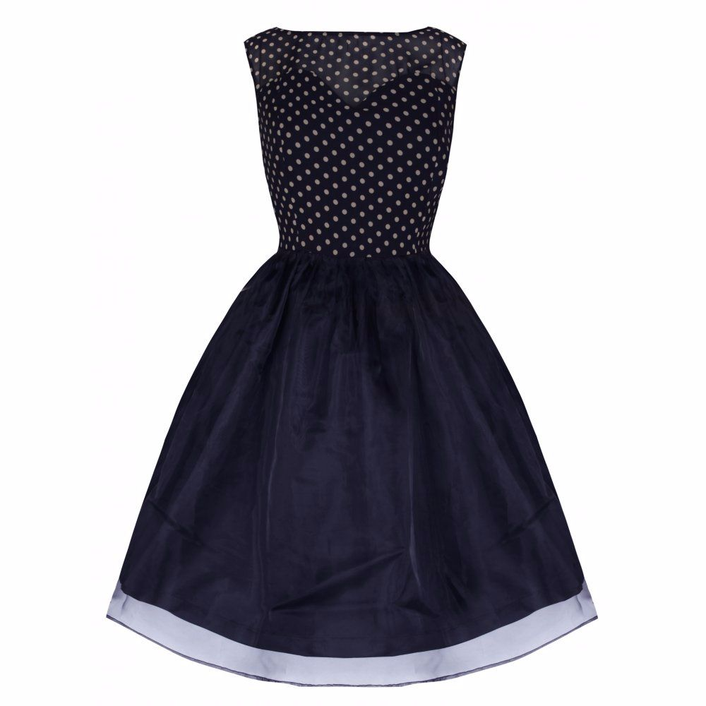 LINDY BOP 'VIOLETTA' DELIGHTFULLY ADORABLE 50's INSPIRED NAVY POLKA SWING D