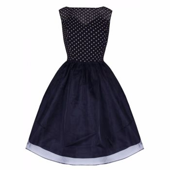 LINDY BOP 'VIOLETTA' DELIGHTFULLY ADORABLE 50's INSPIRED NAVY POLKA SWING DRESS