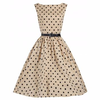 LINDY BOP 'AUDREY' MOCHA & BLACK POLKA DOT VINTAGE 1950's SWING DRESS