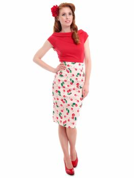 Collectif Fiona 50s Ivory & Red Cherry Print High Waisted Wiggle Skirt