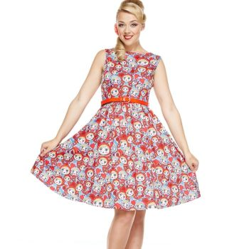 LINDY BOP 'Audrey' Russian Doll Print Vintage Style Swing Dress