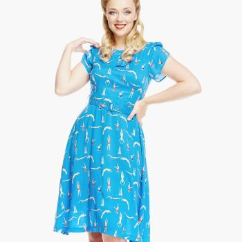 LINDY BOP 'Clarissa' Blue Swimmers Print Vintage Style Tea Dress