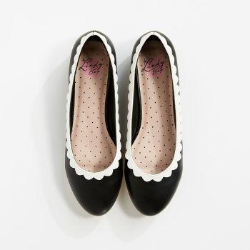 LINDY BOP 'Greer Shoe' Black White Ballet Pump Shoes