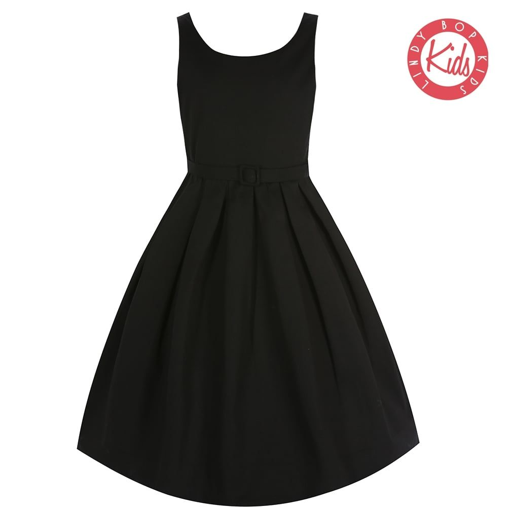 Lindy Bop Childrens 'Mini Lana' Vintage Style Black Party Dress