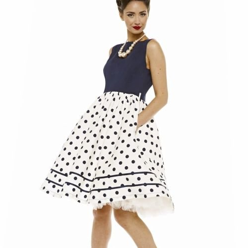 LINDY BOP 'Audrey' Mono Navy Polka Dot Print Vintage Style Swing Dress