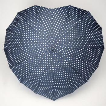 LINDY BOP 'Heart' Navy Polka Dot Heart Shaped Umbrella Automatic Button Release