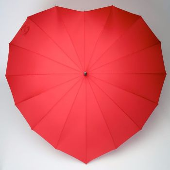 LINDY BOP 'Heart' Red Heart Shaped Umbrella Automatic Button Release