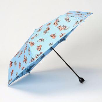 LINDY BOP 'Cat' Blue Kitten Print Folding Umbrella Cat Handle Matching Case